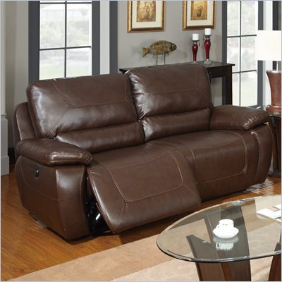 Global Furniture USA 1027 Power 1.5 Reclining Sofa in Brown Leather