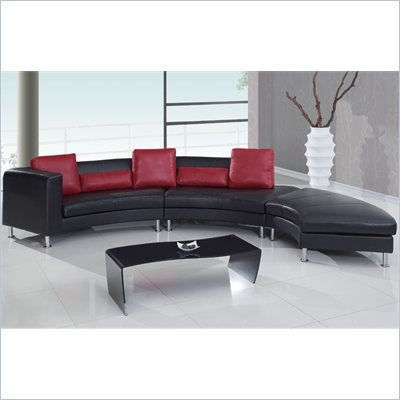 Global Furniture USA 919 3 Piece Sectional in Black with Red Pillows