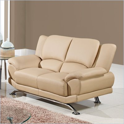 Global Furniture USA 9908 Loveseat in Cappuccino with Chrome Legs