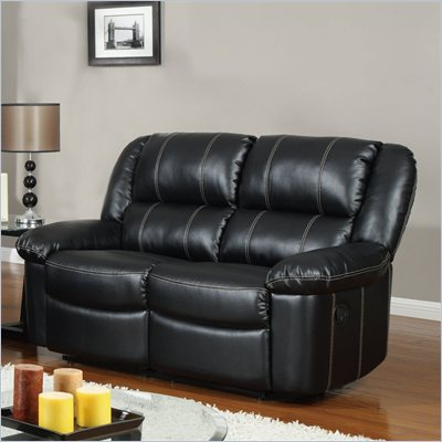Global Furniture USA 9966 Reclining Loveseat in Black Leather