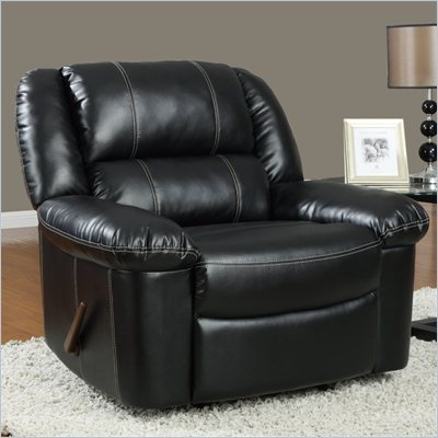 Global Furniture USA 9966 Rocker Recliner Chair in Black Leather
