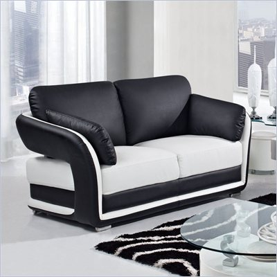 Global Furniture USA A189 Bonded Leather Loveseat in Black/White