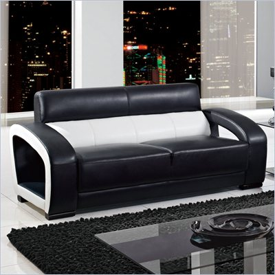 Global Furniture USA A199 Ultra Bonded Leather Sofa in Black/White
