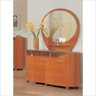 Global Furniture USA Emily Dresser and Mirror Set in Cherry