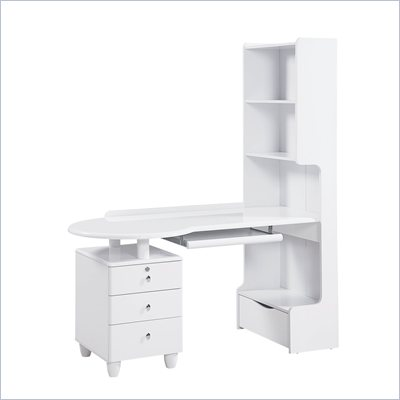 Global Furniture USA Emily Kids Study Desk in White