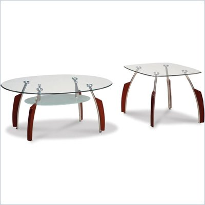 Global Furniture USA Francis Coffee Table Set with Glass Top in Mahogany