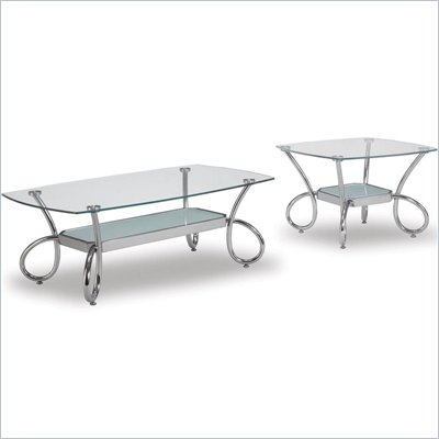 Global Furniture USA 559 Glass and Chrome Coffee Table Set