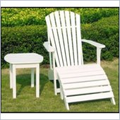 International Concepts Adirondack Chair with Footrest and Sidetable in White Finish