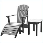 International Concepts Adirondack Chair with Footrest and Sidetable in Black Finish