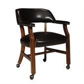 International Concepts Rockwood Vinyl Arm Chair with Casters in Antique Cherry