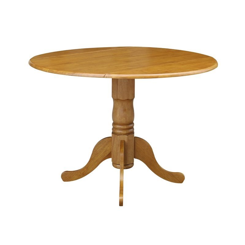round drop leaf dining table in nutmeg with light oak