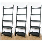 International Concepts 5-Tier Leaning Wall Bookcase in Black