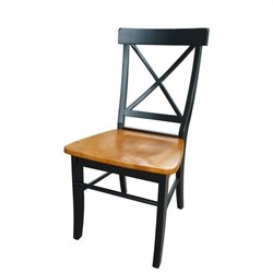 International Concepts X-Back Dining Chair in Black/Cherry (set of 2)