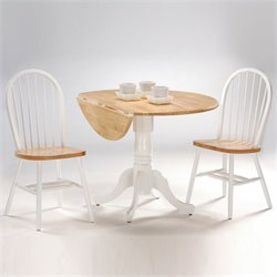 International Concepts 3 Piece 42 Round Dining Set in White/Natural
