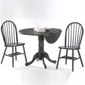 International Concepts 3 Piece 42 Round Dining Set in Black