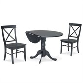 International Concepts 3 Piece Dining Set with X-Back Chairs in Black