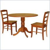 International Concepts 3 Piece 42 Round Dining Set in Cottage Oak