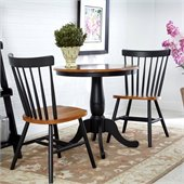 International Concepts 3 Piece 30 Round Dining Set in Black/Cherry