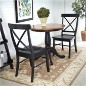 International Concepts 3 Piece 30 Dining Set in Black/Cherry