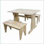 International Concepts Table with 2 Benches in Natural