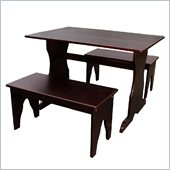 International Concepts Table with 2 Benches in Rich Mocha