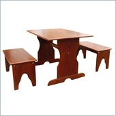 International Concepts Table with 2 Benches in Cottage Oak