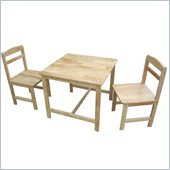 International Concepts 3 Piece Kids Table and Chair Set in Natural