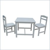 International Concepts 3 Piece Kids Table and Chair Set in Linen White