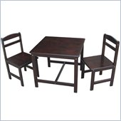International Concepts 3 Piece Kids Table and Chair Set in Rich Mocha