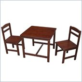 International Concepts 3 Piece Kids Table and Chair Set in Cottage Oak