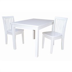 International Concepts 3 Piece Mission Table Set in Linen White