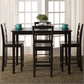 International Concepts 5 Piece Gathering Height Dining Set in Black