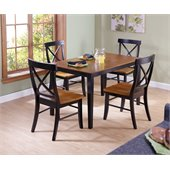 International Concepts 5 Psc X-Back Chairs Dining Set in Black Cherry