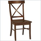 International Concepts Solid Wood X-Back Chair in Cottage Oak Set of 2