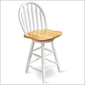 International Concepts Windsor Arrowback Swivel 24.75 inch Counter Stool in White and Natural