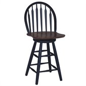 International Concepts 24 Windsor Arrowback Swivel Counter Stool in Black