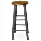 International Concepts 24 Round Top Counter Stool in Black and Cherry