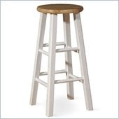 International Concepts 29 Roundtop Bar Stool in White and Natural