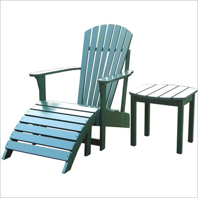 International Concepts Adirondack Chair with Footrest and Sidetable in Hunter Green Finish