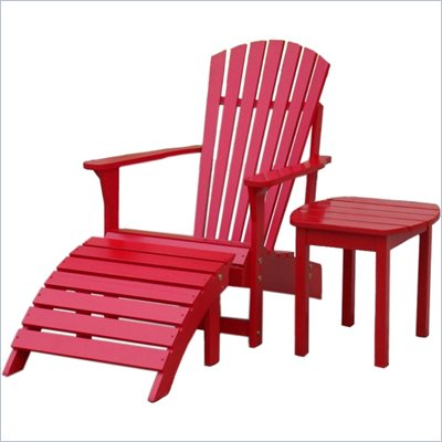 International Concepts Adirondack Chair with Footrest and Sidetable in Red Finish