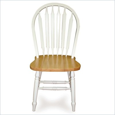 International Concepts Windsor Wood Side Chair in White and Natural Wood Finish