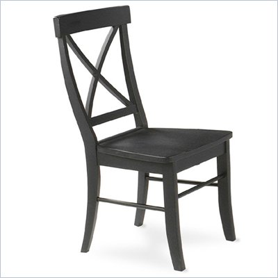 International Concepts Simply Linen X-Back Wood Side Chair in Black Finish (Set of Two)