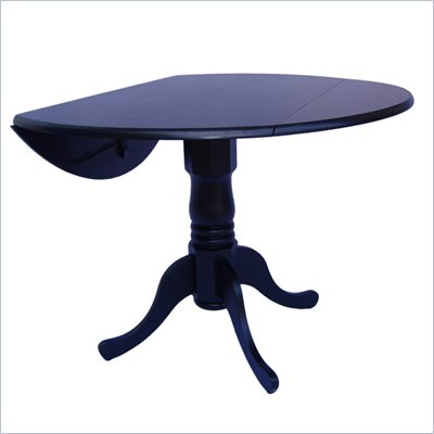 "International Concepts 42"" Round Dual Drop Leaf Dining Table in Black"