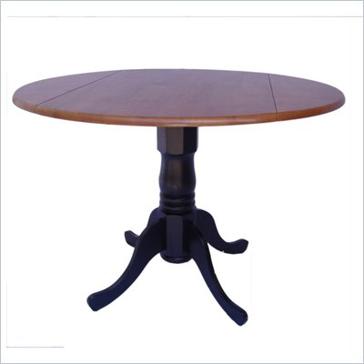 International Concepts Dual Drop Leaf Dining Table in Black and Cherry