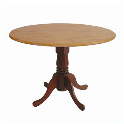 International Concepts Round Dual Drop Leaf Dining Table in Cinnamon and Espresso 