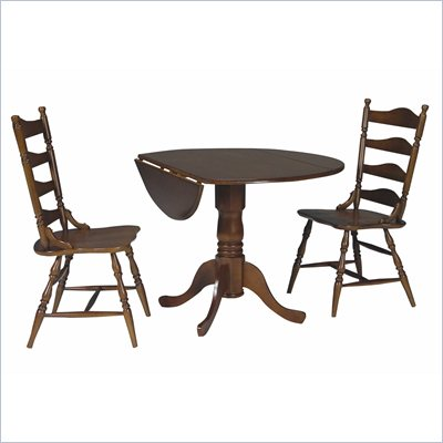 International Concepts 3 Piece Round Dining Set in Cottage Oak