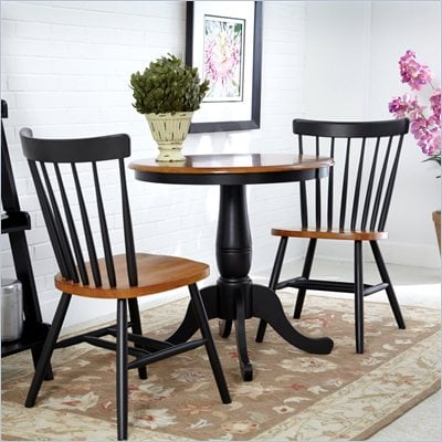 "International Concepts 3 Piece 30"" Round Dining Set in Black/Cherry"