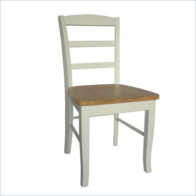 International Concepts Madrid Ladderback Wood Side Chair in White and Natural Finish (Set of 2)