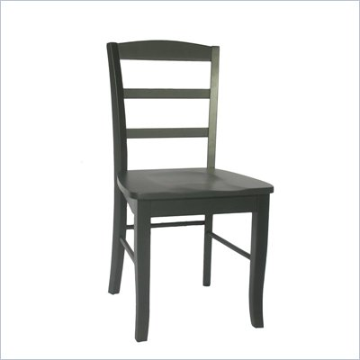 International Concepts Madrid Ladderback Wood Side Chairs in Black (Set of 2)