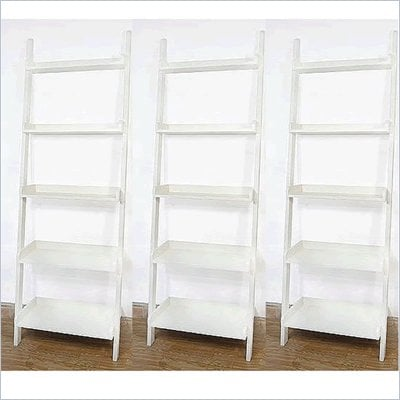 International Concepts 5-Tier Leaning Wall Bookcase in White